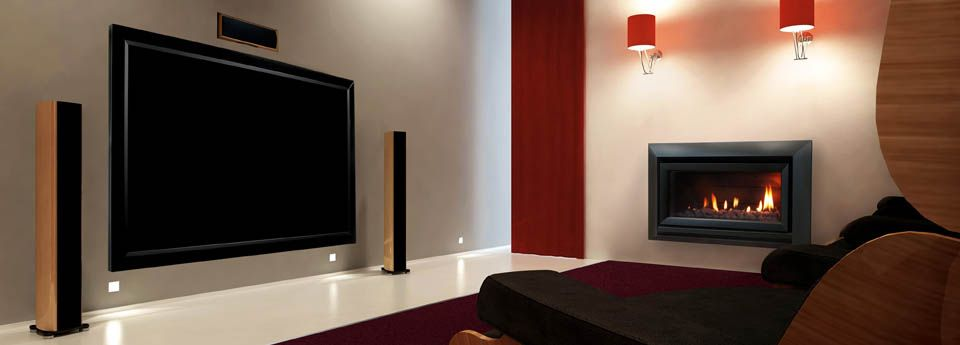 Escea gas fireplace in a media room to provide warmth and charm to any occassion