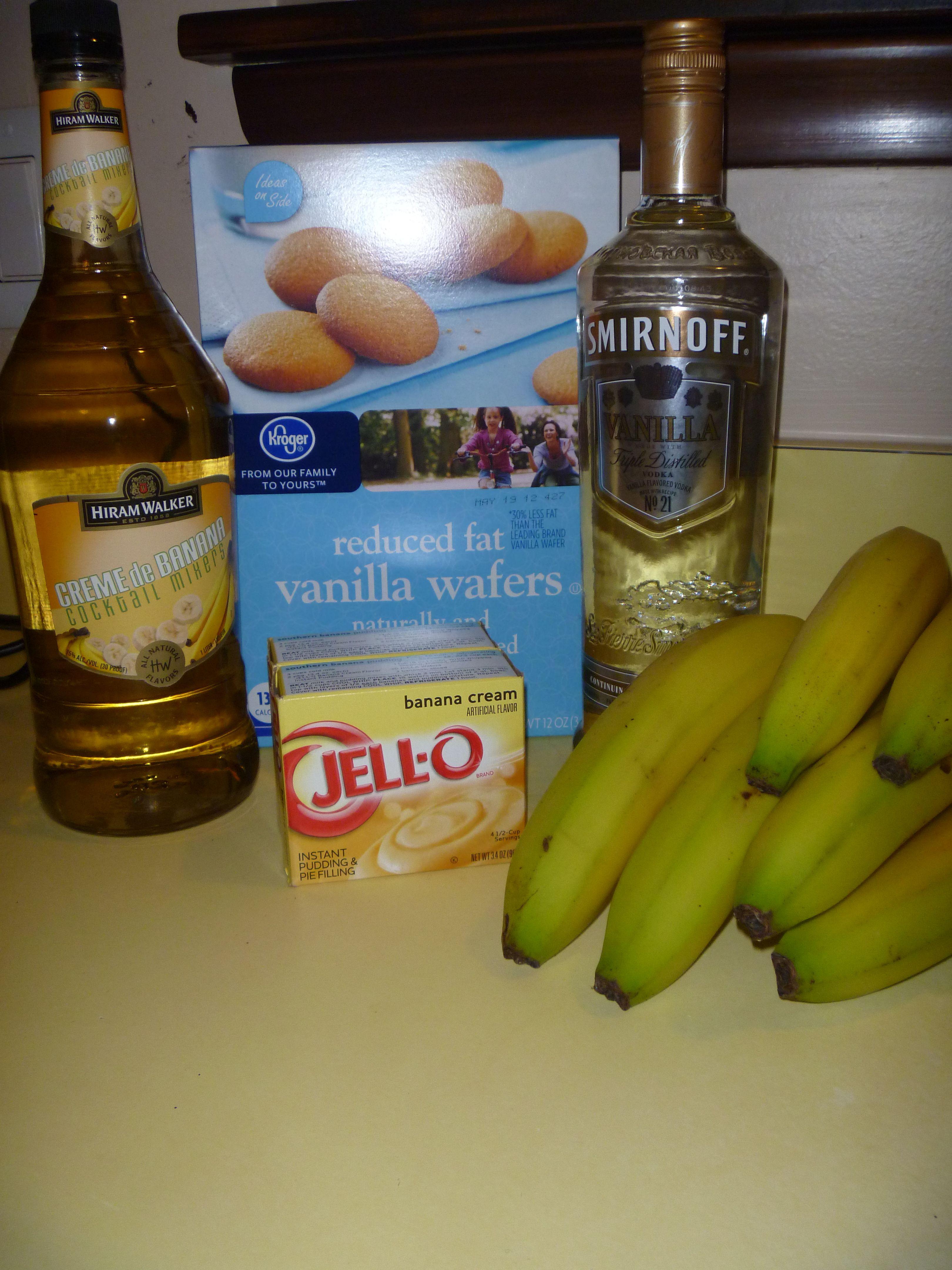 Banana pudding shots I might add some Chocolate Temptation Cream