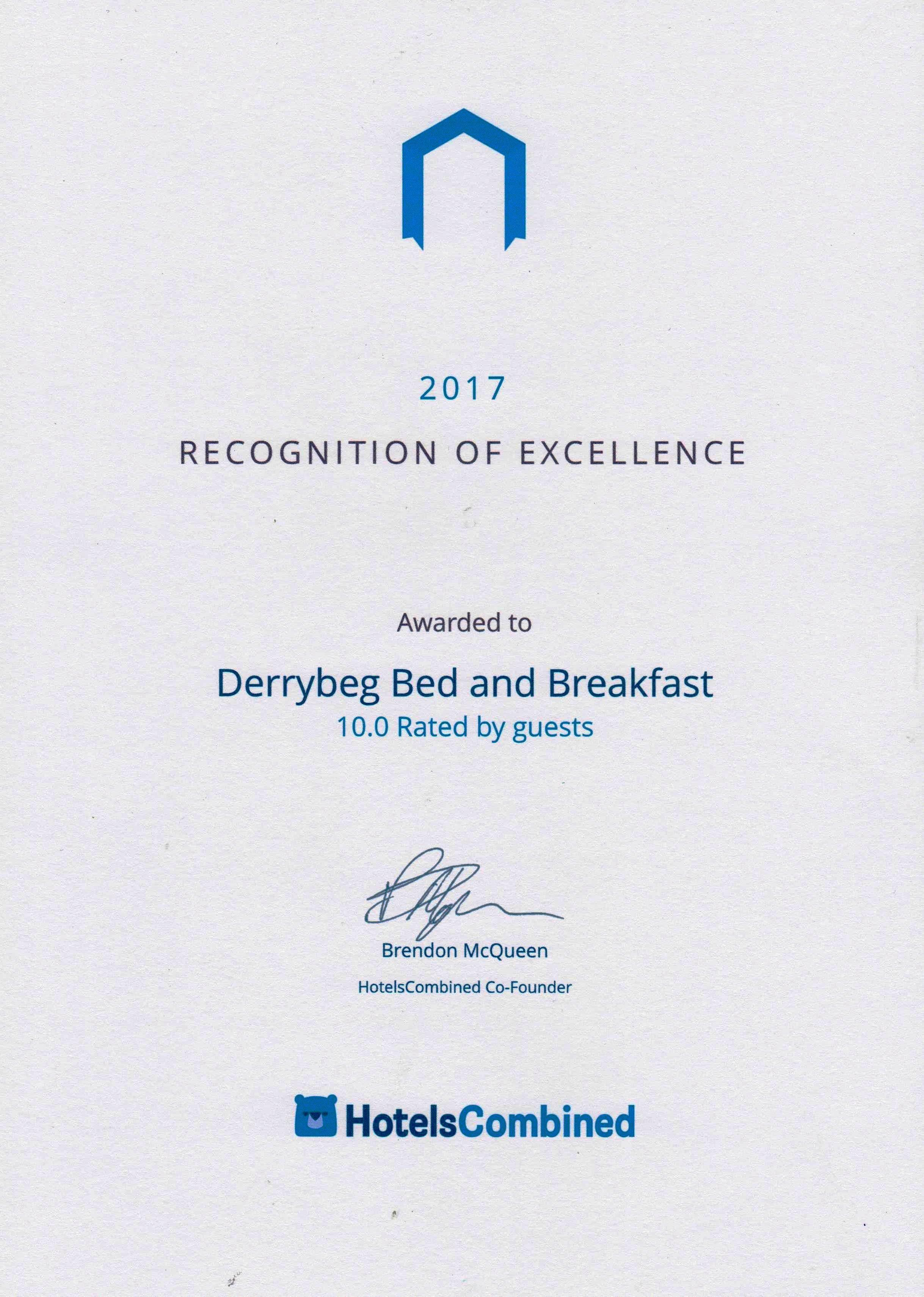 Derrybeg Award from Bed and breakfast