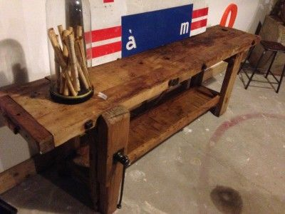 Table Style Industrielle Pied Central Bois Metal Bois Metal Table Meubles Industriels