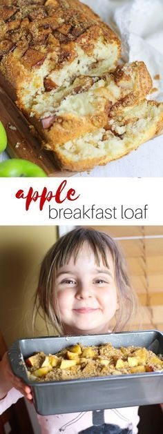 This apple breakfast loaf recipe is the perfect recipe for kids to help with in the kitchen! Tender, cake-like bread with cinnamon-brown sugar and real chunks of apple mixed in - the perfect way to start your day.