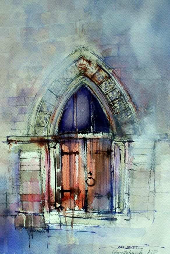 Christchurch Cathedral Side Door By John Lovett Watercolor