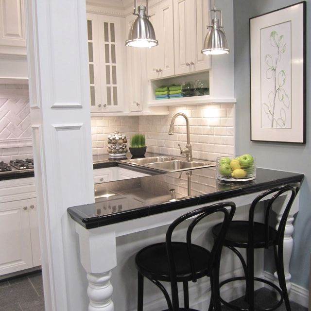 Condo kitchen subway tiles plus legs on bar super cute for Sample small kitchen designs