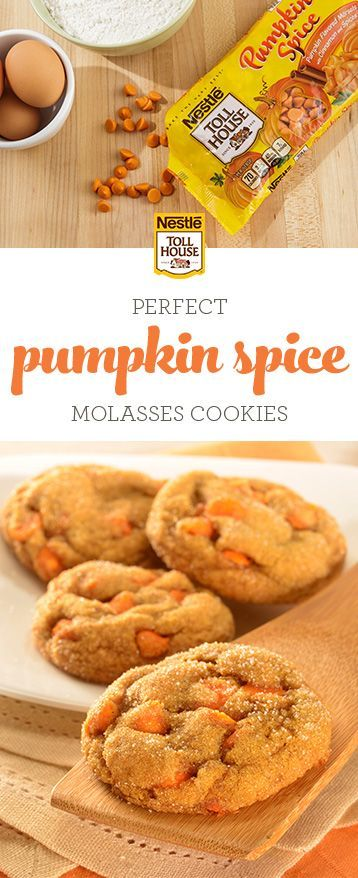 Spice Molasses Cookies Bring the taste of fall to your table with Pumpkin Spice Molasses Cookies. Combining pure pumpkin, rich molasses, classic fall spices and NESTLÉ® TOLL HOUSE® Pumpkin Spice Morsels, these soft, homemade cookies are perfect for sharing as tasty fall treats or serving at your next holiday party. Grab this fall-inspired recipe.Brin