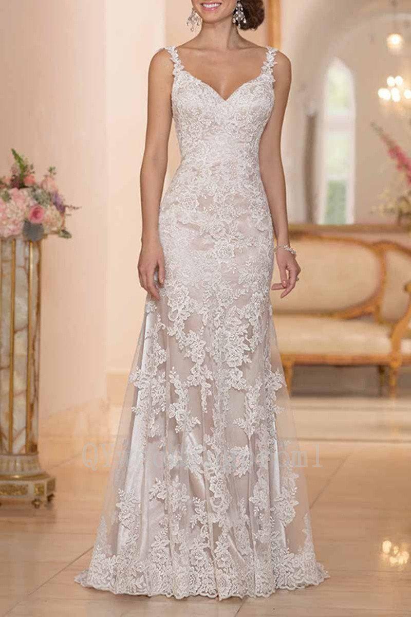 Lace strap wedding dress  VintageLaceWeddingDressSexyVneckSpaghettiStrapsChampagne