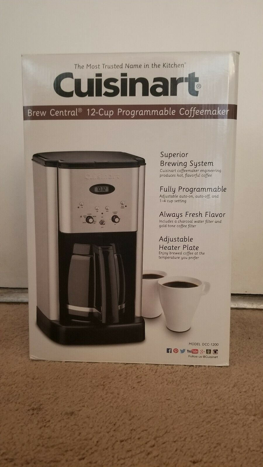 New Cuisinart Dcc 1200 Brew Central 12 Cup Programmable Coffeemaker Black Silver In 2020 Coffee Maker Cuisinart Coffee Maker Coffee Brewing