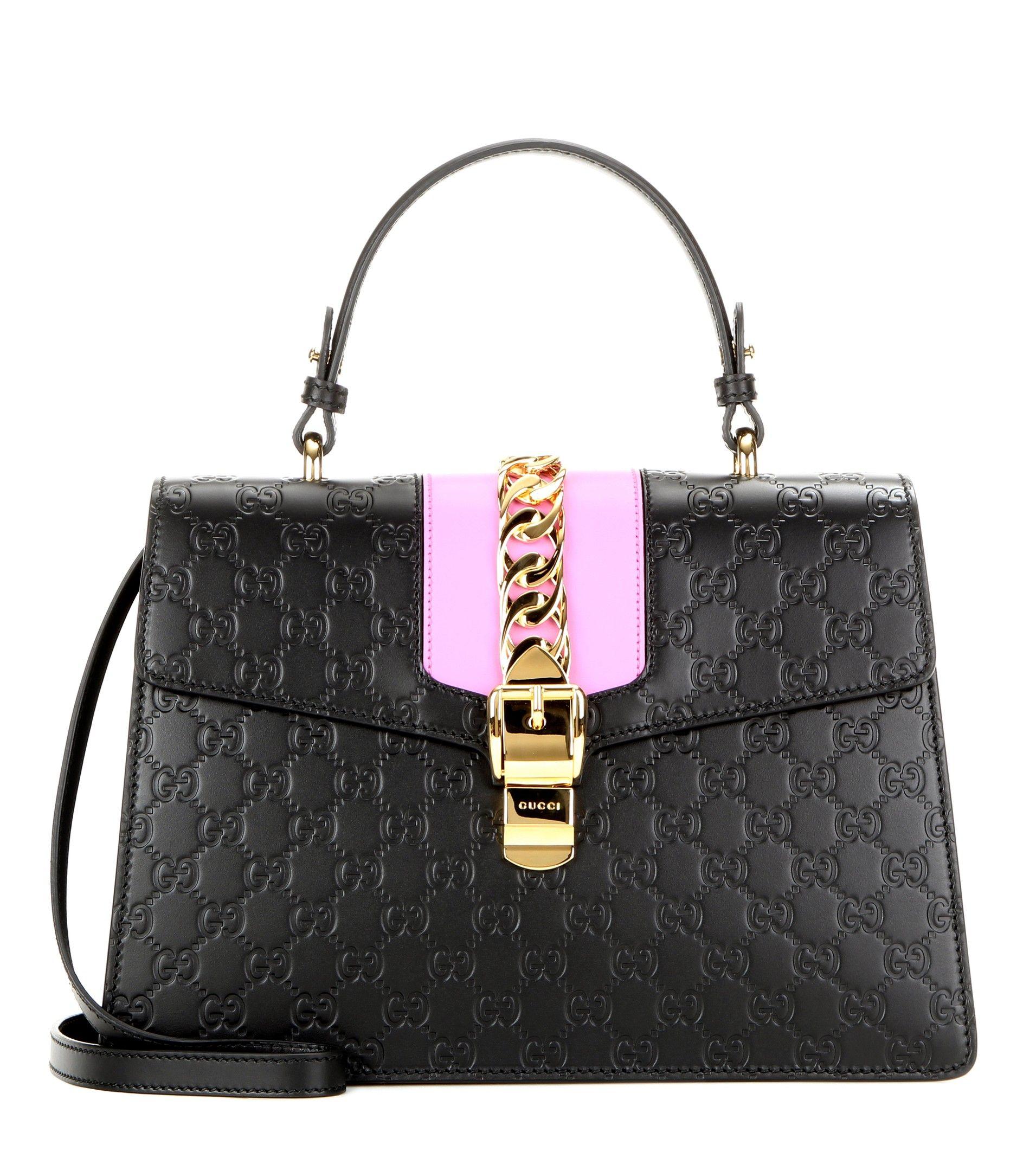GUCCI Signature Sylvie embossed leather shoulder bag  47dfc83c6ae5