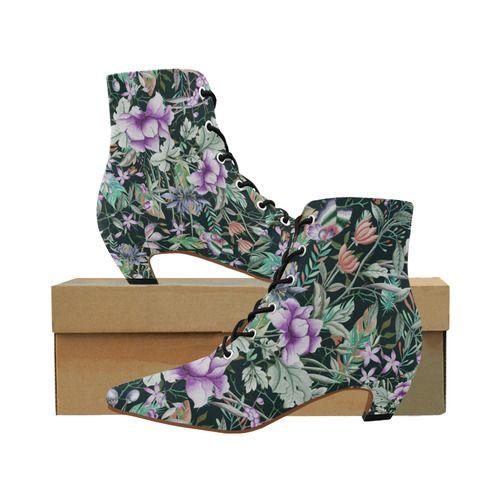be4f18c32ff Tropical Flowers Butterflies Feathers Walpaper 2 Women s Pointed Toe Low  Heel Booties (Model ...