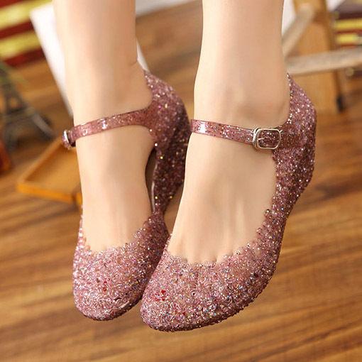 e9c556e6b2 Details about 2019 Womens Sandals High Heels Girls Wedge Glass Jelly ...