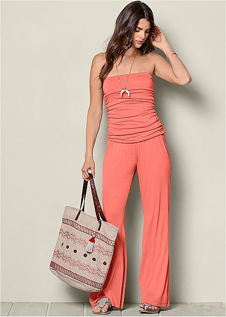 afc0b374aaa Strapless jumpsuit in burnt coral venus pinterest venus jpg 459x643 Coral  strapless jumpsuit