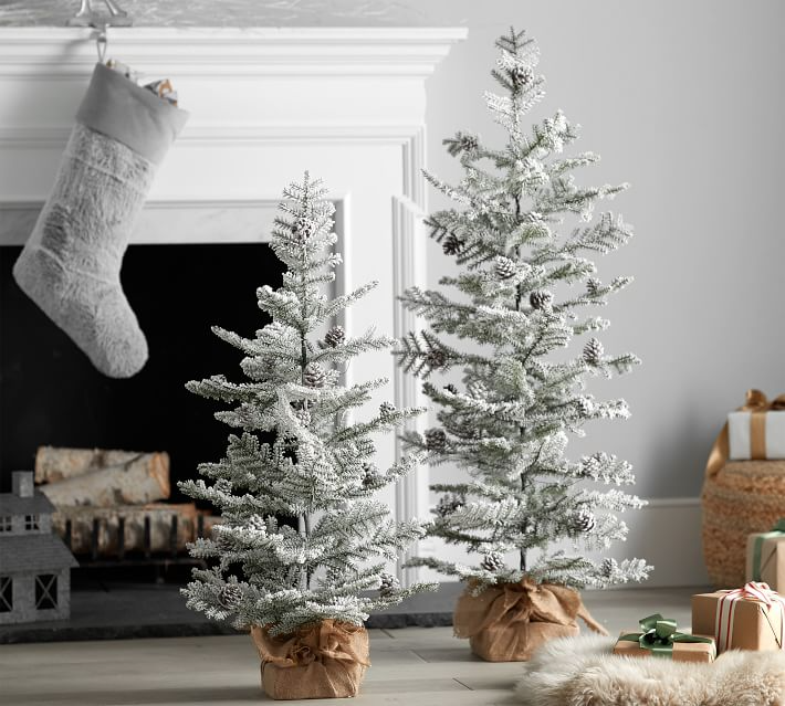 Pre-Lit Faux Snowy Pine Trees   Pottery Barn   Holiday ...