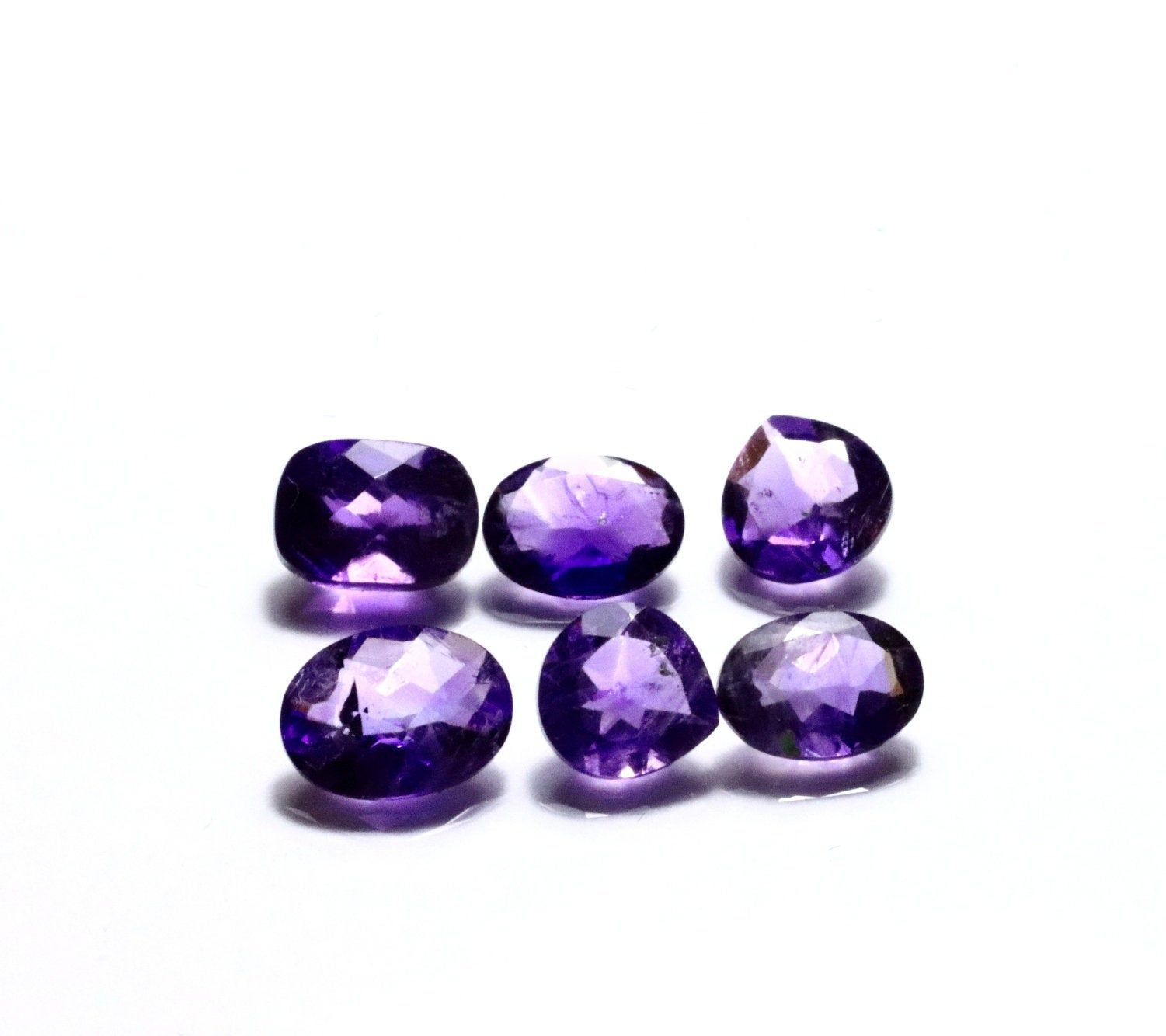 10 pieces 5x7 mm Oval Amethyst Natural Cabochon Loose Gemstone