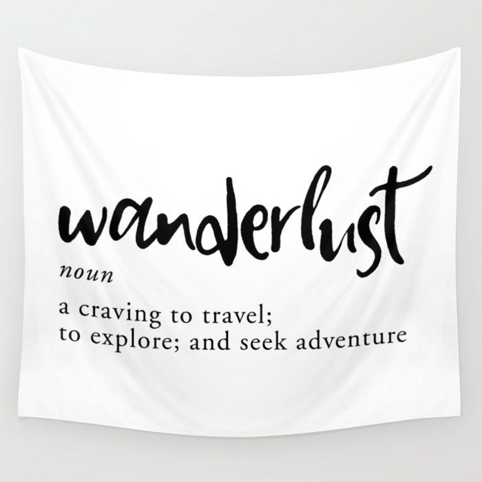 Photo of Wanderlust Definition – Minimalist Black Type Wall Tapestry by Kit Cronk – Small: 51″ x 60″ – Products