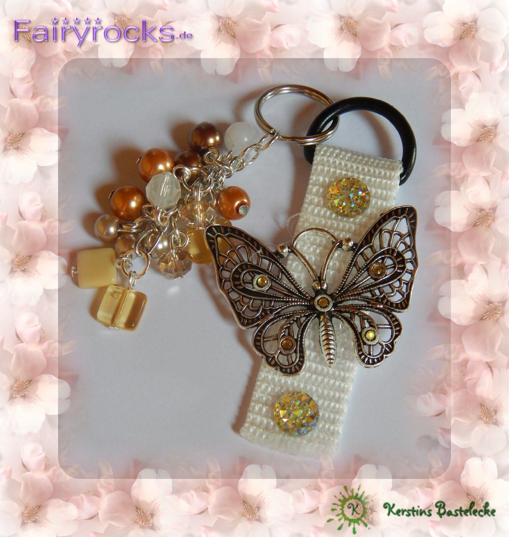 #Weiß #Schmetterling #Glassteine #Textilkord #Perlen #Gold
