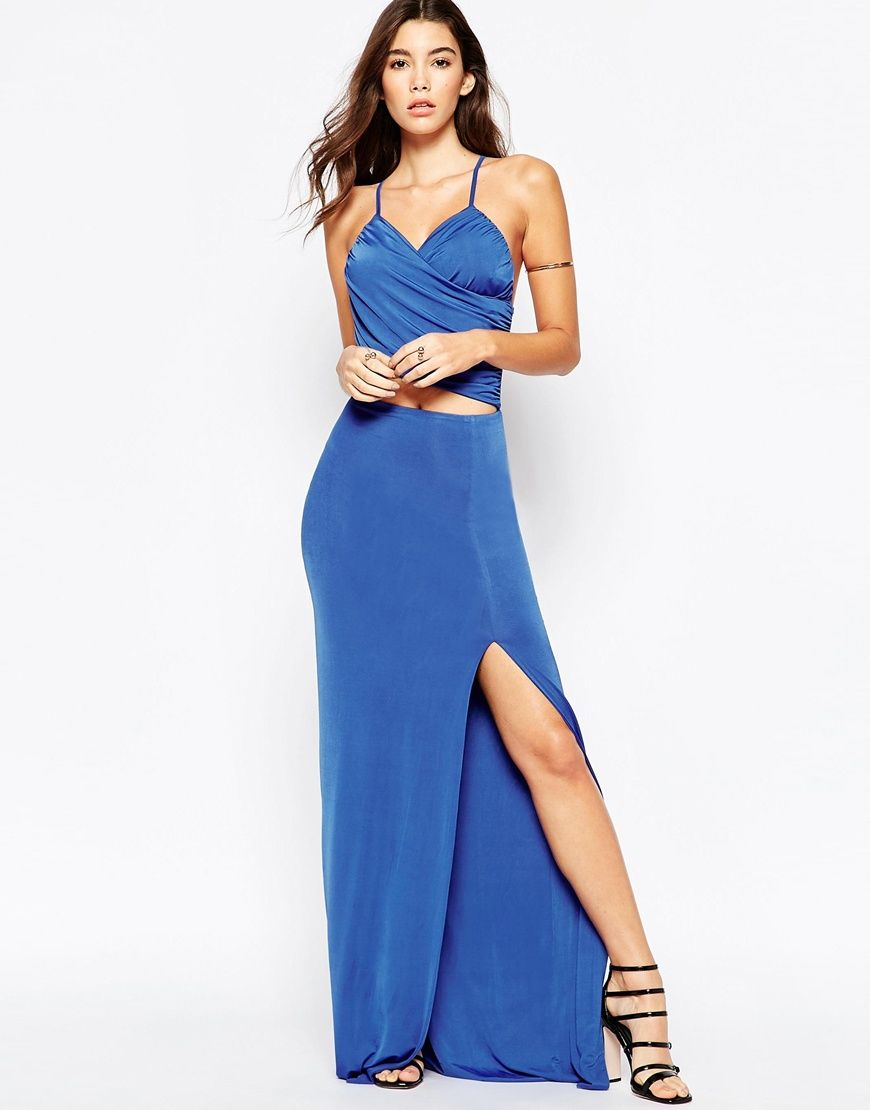Vlabel london wrap front maxi dress