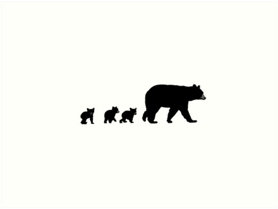 A sweet mama bear and her cubs following. • Also buy this artwork on wall prints, apparel, stickers, and more.