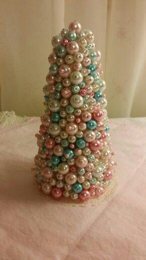 My Shabby Chic beaded Christmas Tree...Vintage Christmas decorations