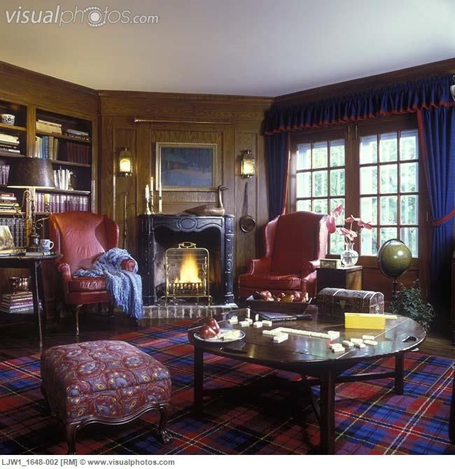 Red Living Rooms With Plaid Curtains With Red Trim Red Leather Wing Chairs Red And Blue