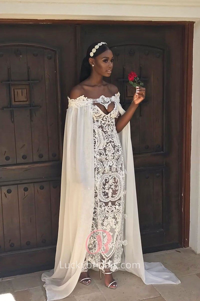 Grecian style white sheer lace wedding dress full of romance and