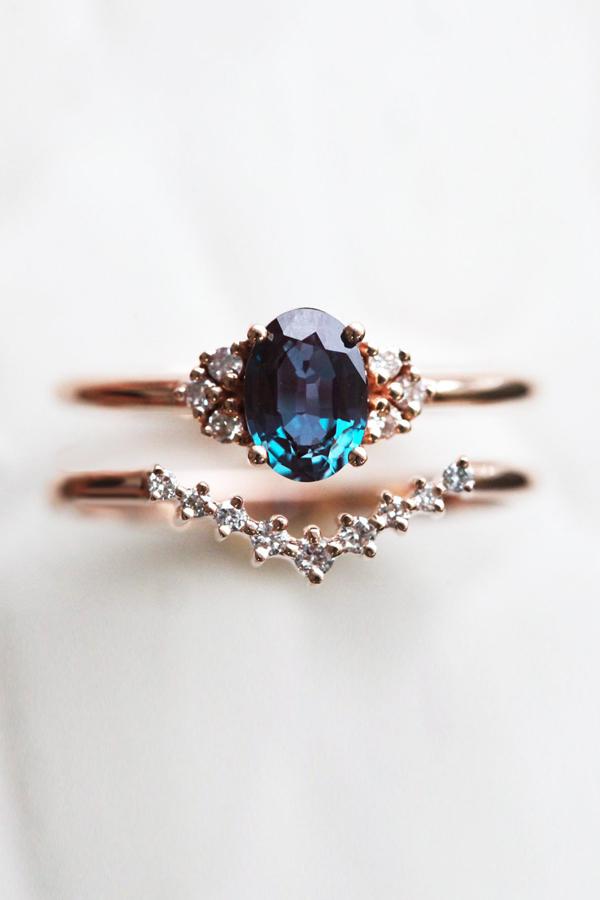 Dora Alexandrite and Diamond Cluster Ring Two-Piece Set - Praise