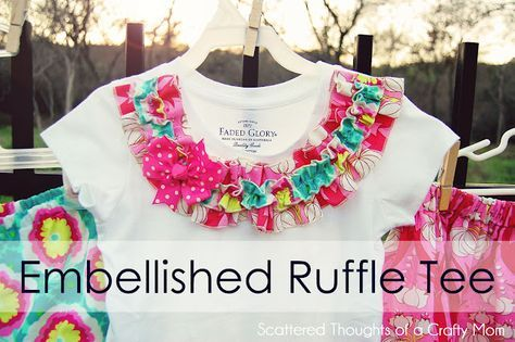 Sew ruffle to neckline of t-shirt.  From Scattered Thoughts of a Crafty Mom - I thought of you @Kristen stylesbydad.com when I saw this