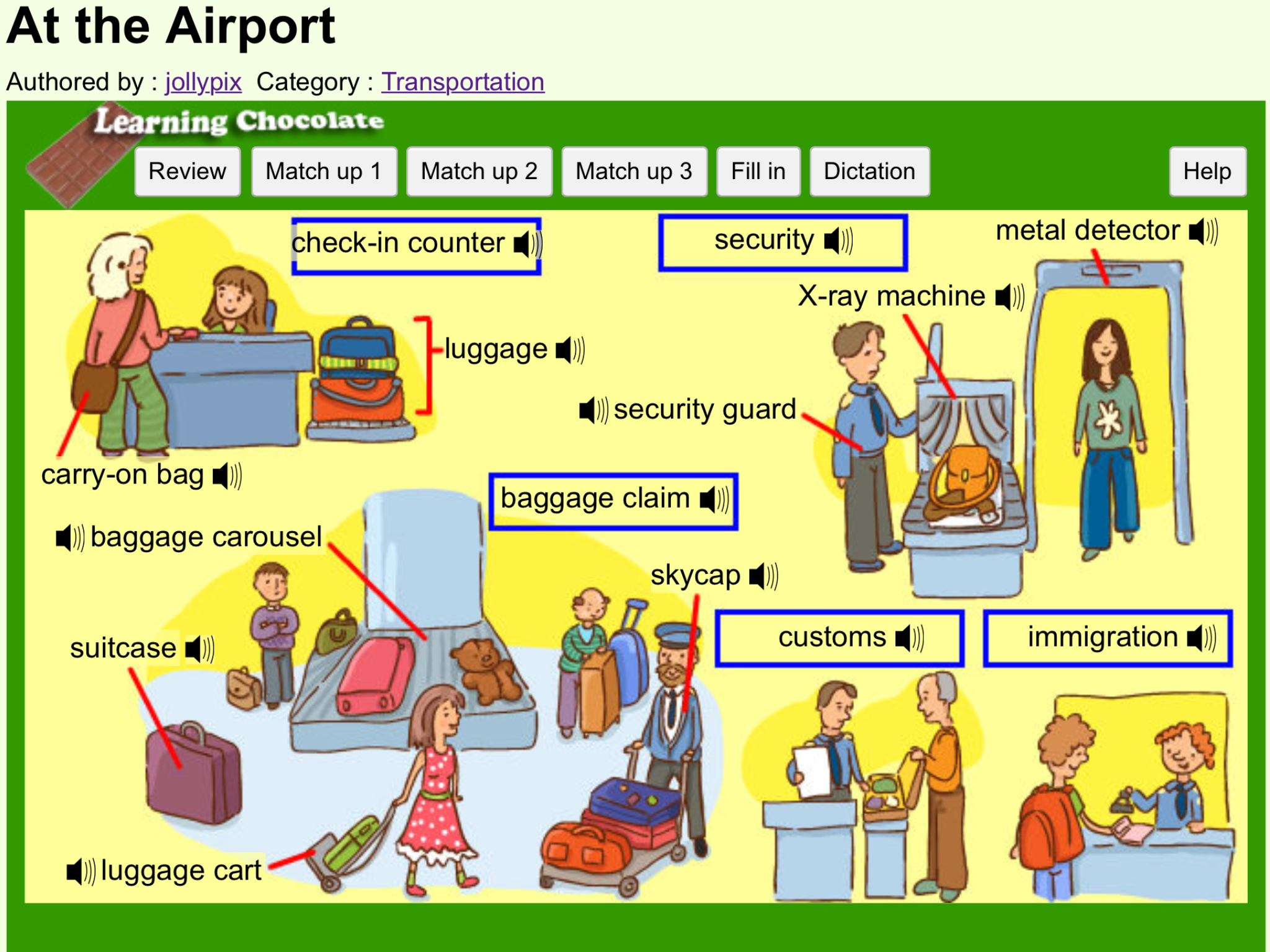 Vocabulary at the airport http www learningchocolate com content