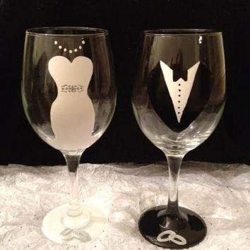 Shop Hand Painted Bride Wine Glass on Wanelo | wine glasses ...