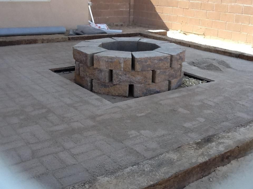 Patio And Firepit Railroad Tie Edging Brick Pavers And