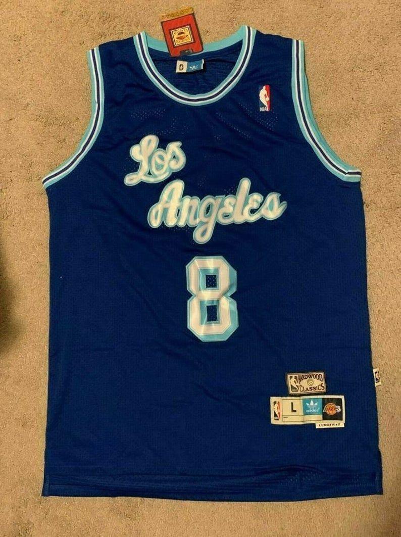 Los Angeles Lakers 8 Kobe Bryant Blue Throwback Jersey 2020 Etsy Kobe Bryant Wallpaper Kobe Bryant Los Angeles Lakers