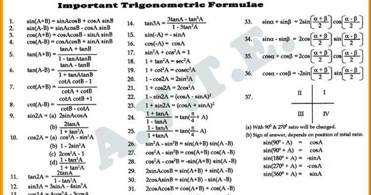 Image Result For Trigonometry Formula Maths Pinterest