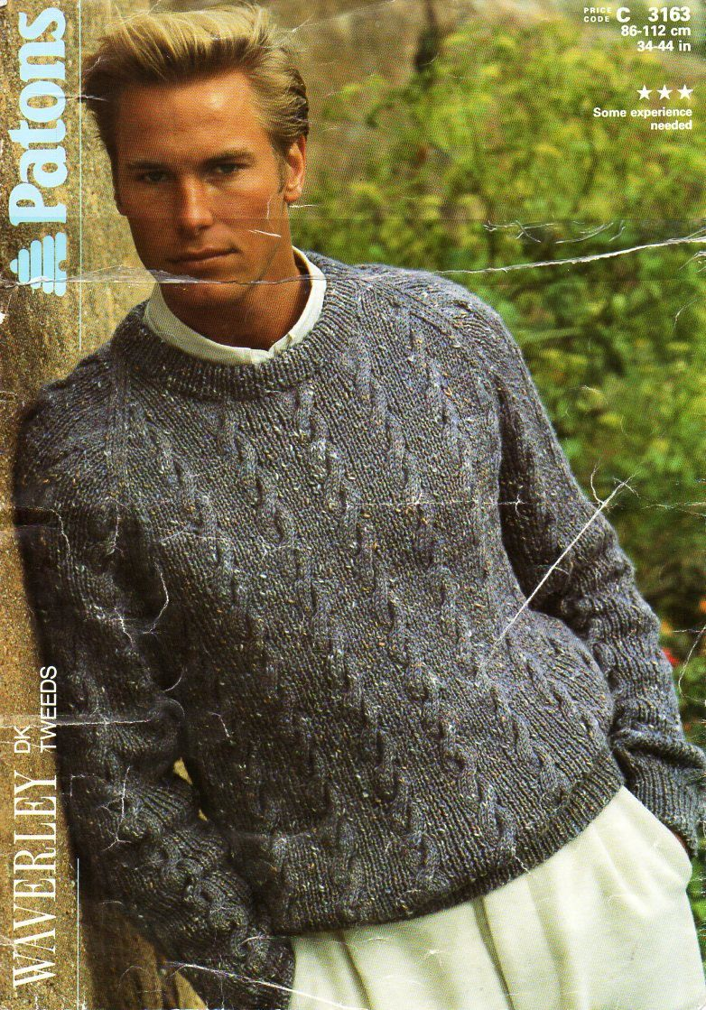 2dcaf62f47d0 mens sweater knitting pattern PDF mens cable sweater crew neck jumper  34-44