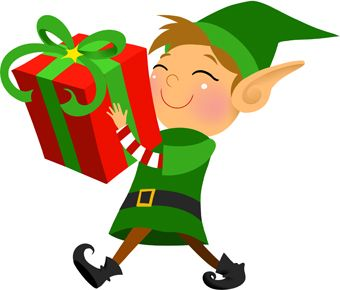clip art of a grinning elf carrying a large wrapped christmas gift rh pinterest ca