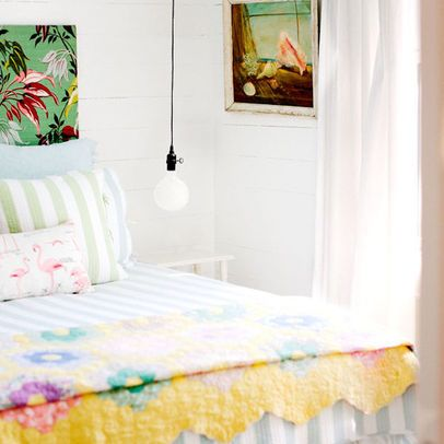 Tybee Islands Mermaid Cottages Cozy Pastel Bedroom   #vacation #bedroom #quilt