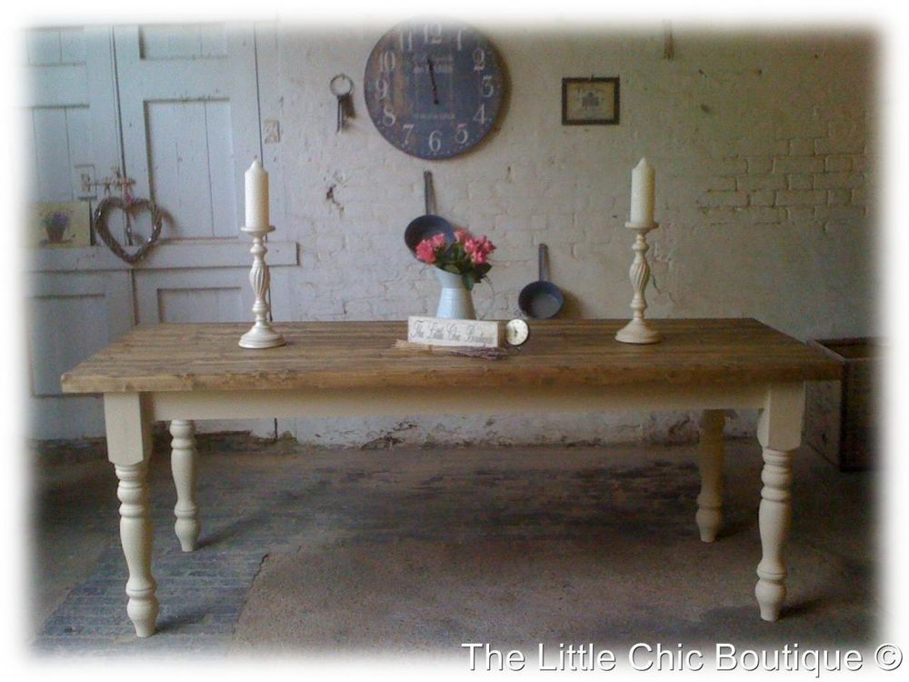 Large 7ft Shabby Chic Handmade Rustic Farmhouse solid Dining Table ...