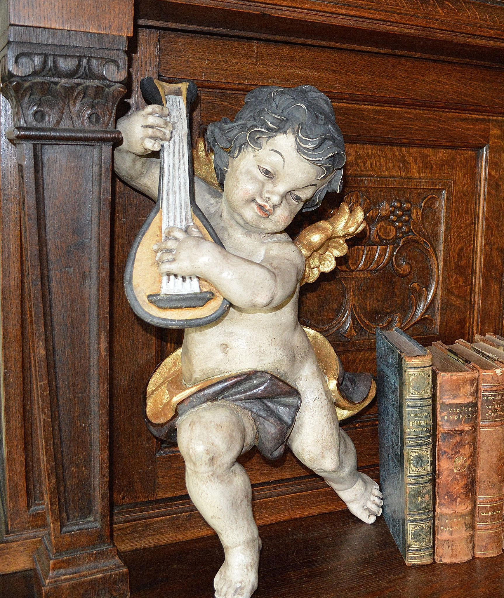 "Vintage German Large Cherub Angel Playing Musical Instrument Mandolin Guitar 18"" Tall"