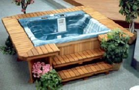 sqare hot tub wood surround with seats | Spa surrounds, redwood ...