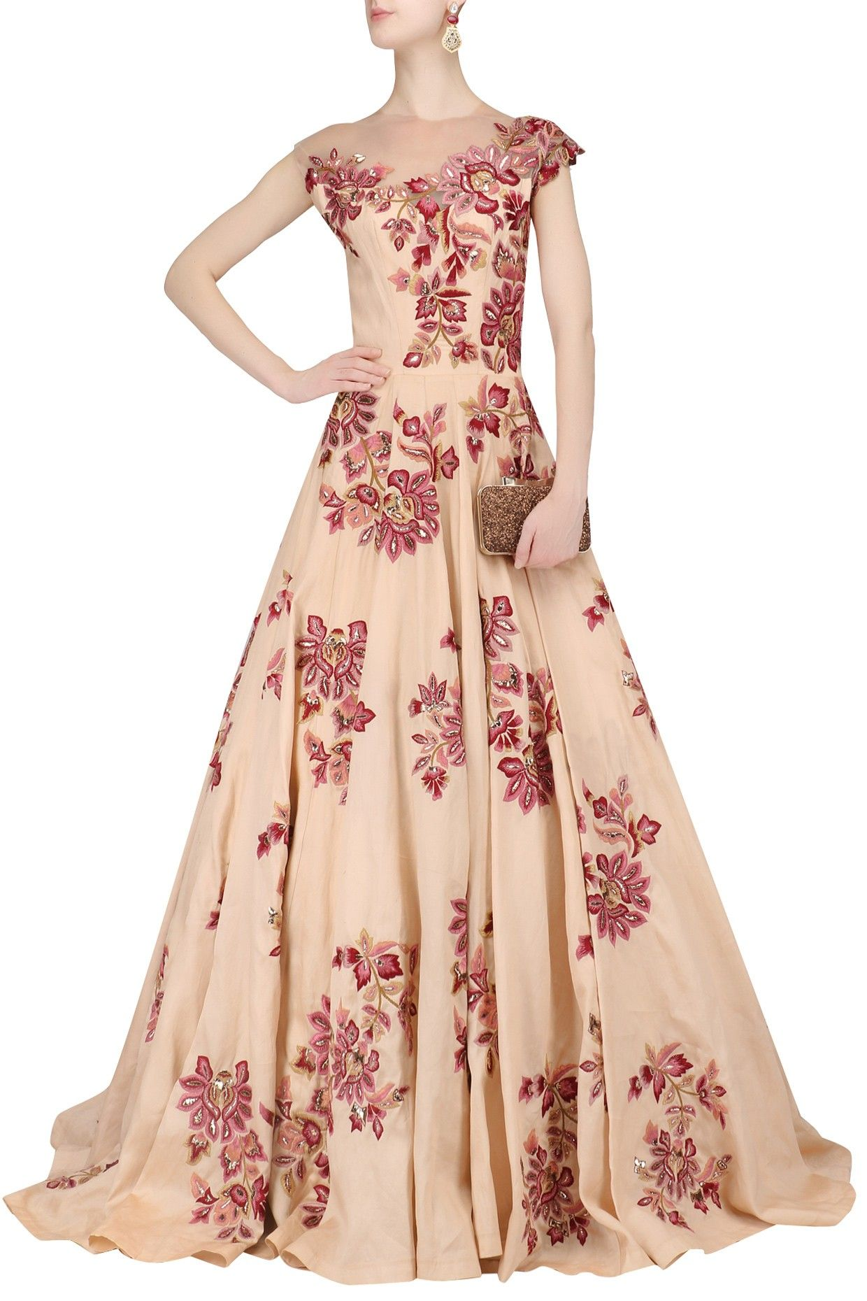 Description Featuring a peach gown in organza fabric with multi colour resham jaal work and has an attached cancan. FIT: Fitted at bust. COMPOSITION: Organza.