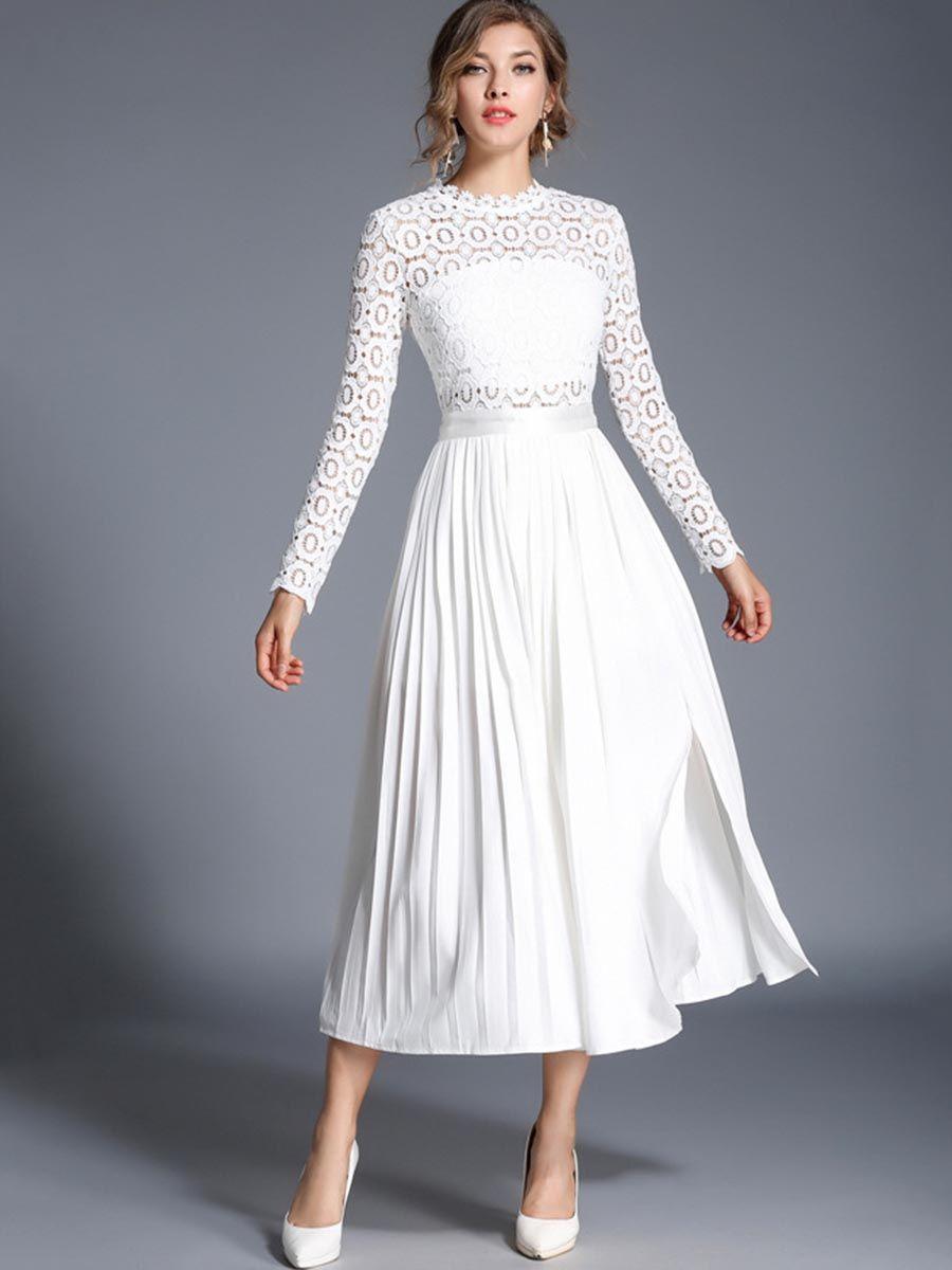 Shoespie Plain Hollow Pullover Women S Lace Dress White Long Sleeve Dress Long White Dress Women Lace Dress [ 1200 x 900 Pixel ]