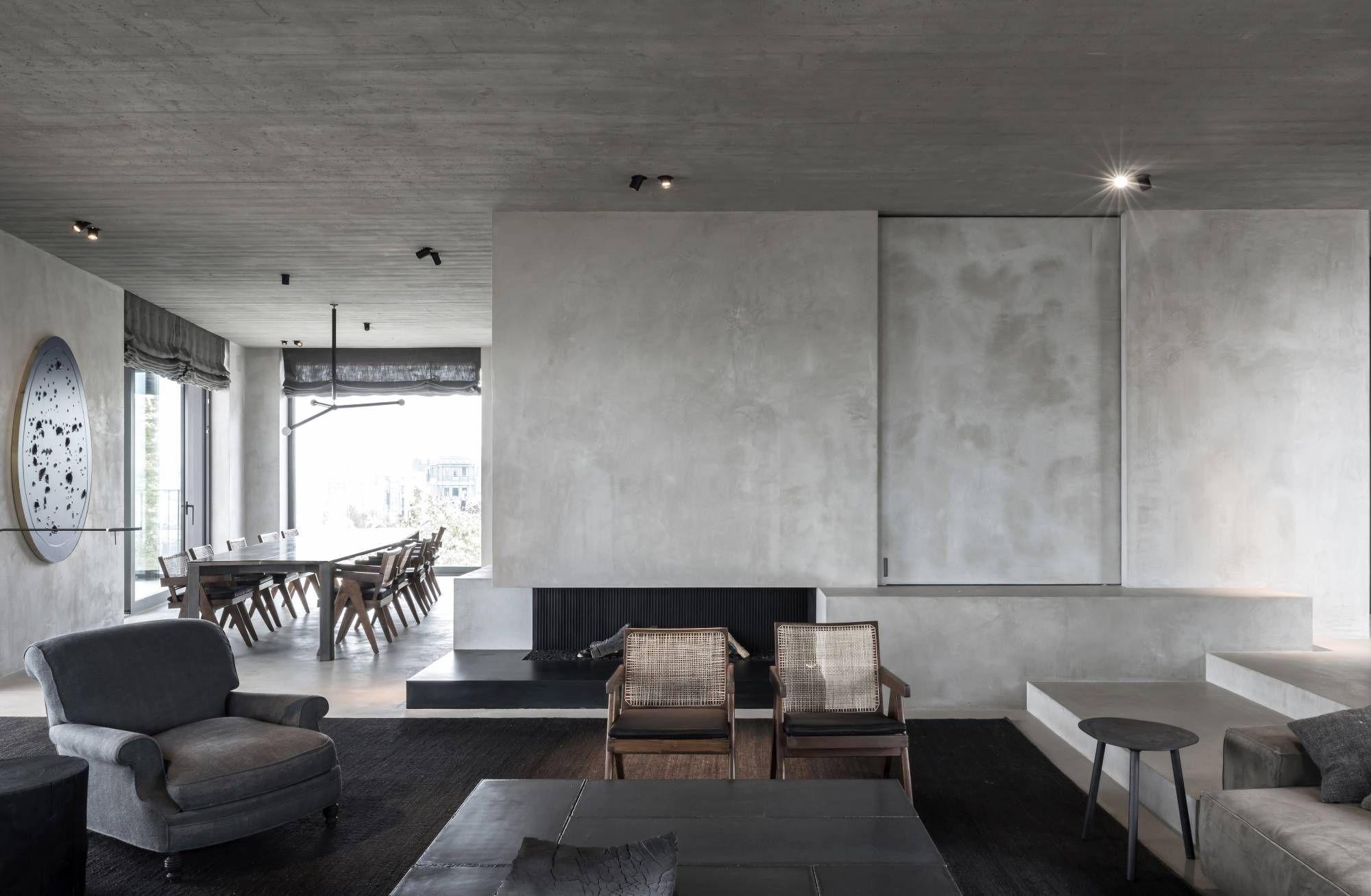 c penthouse betonw nde moderne einrichtung und moderne. Black Bedroom Furniture Sets. Home Design Ideas