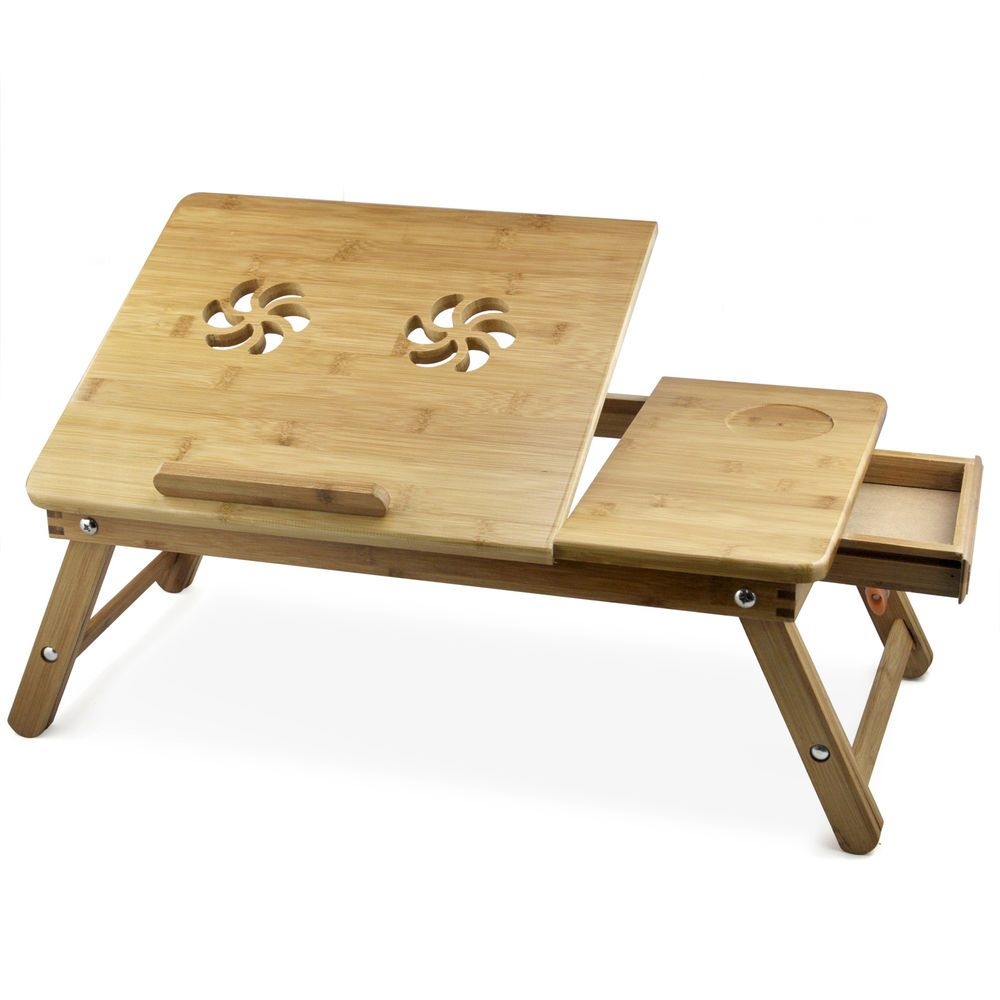 Bamboo Laptop Table Folding Notebook Pc Computer Desk Bed
