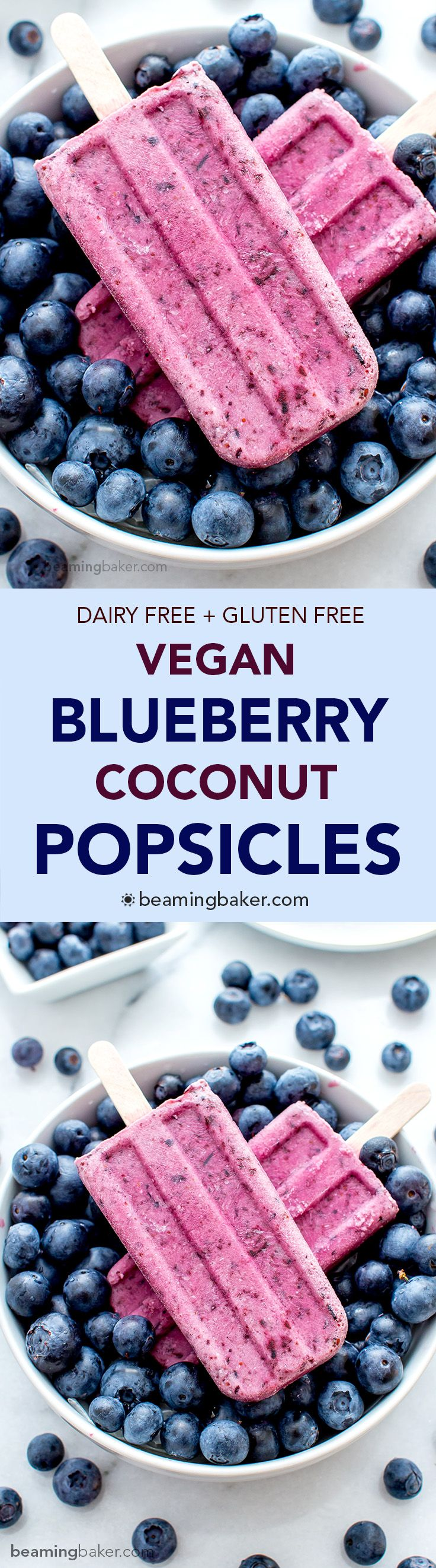 Vegan Blueberry Coconut Popsicles (V+GF): a 3 ingredient recipe for creamy popsicles packed with blueberries and coconut flavor. #Vegan #GlutenFree #DairyFree   BeamingBaker.com
