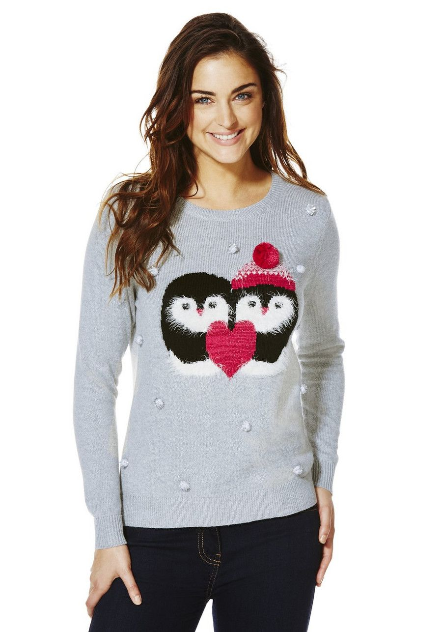 Clothing at Tesco | F&F Penguin Pom Pom Christmas Jumper ...