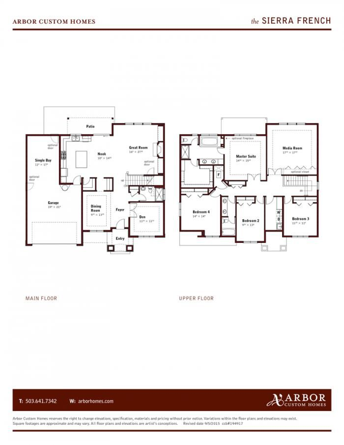 Sierra Floorplan Arbor Custom Homes Portland Or Custom Homes Floor Plans Home Builders