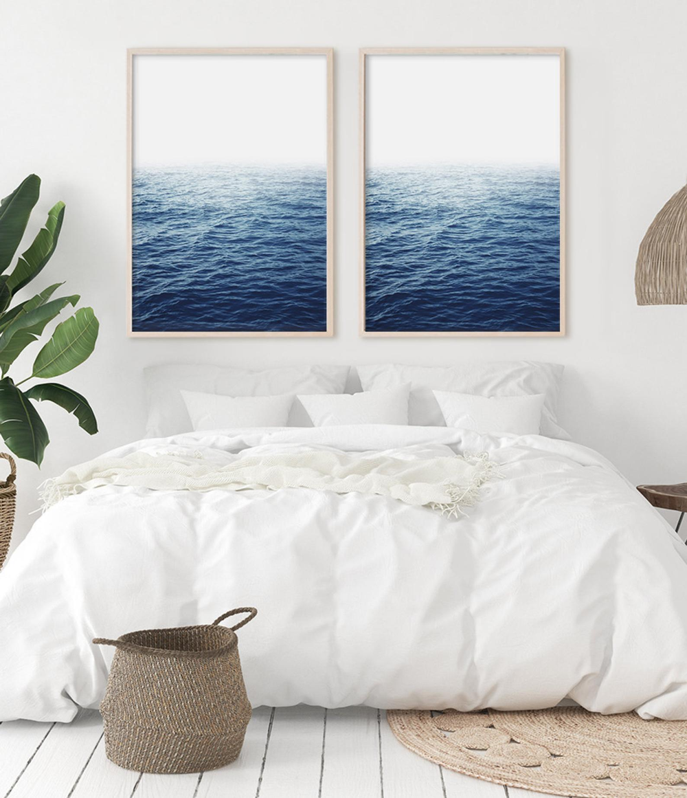 Bedroom Print Set Of 2 Prints Bedroom Wall Art Blue Ocean Print Coastal Decor Ocean Art Bedroom Wall Bedroom Prints Bedroom Wall Art