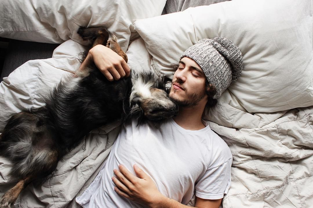 """""""Sunday morning sleep-in's with my favorite boys & our favorite cozy quilt from @parachutehome """""""
