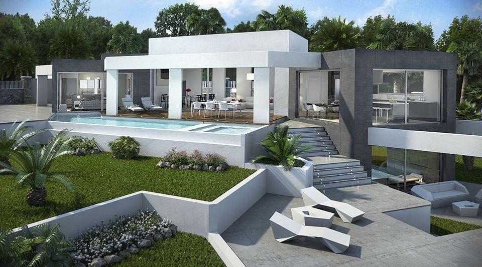 concept villa in stile moderno con piscina e giardino