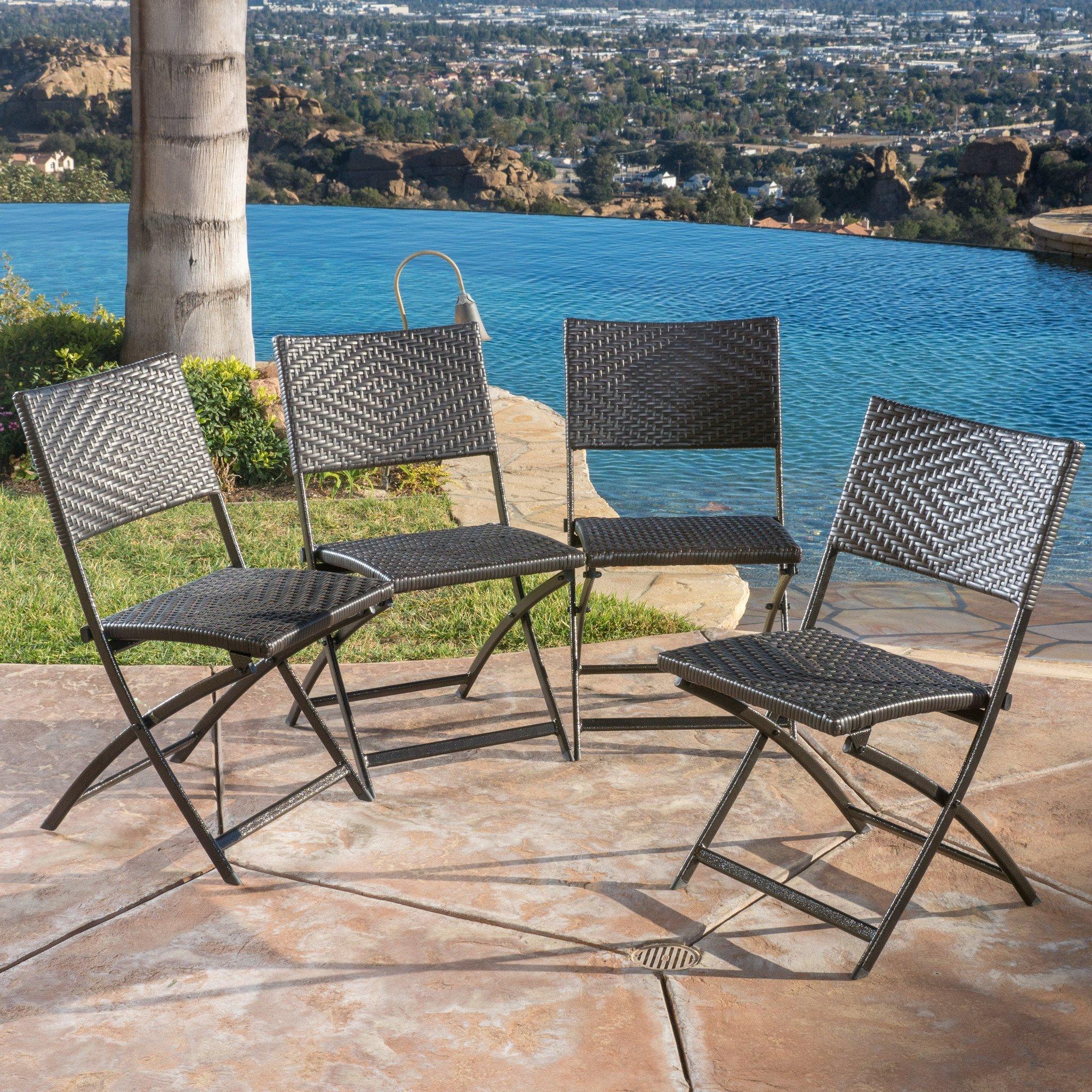 Jason Outdoor Brown Wicker Folding Chair Set of 4