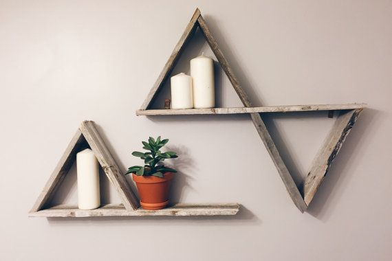 Triangle shelves by Woodengeometric on Etsy