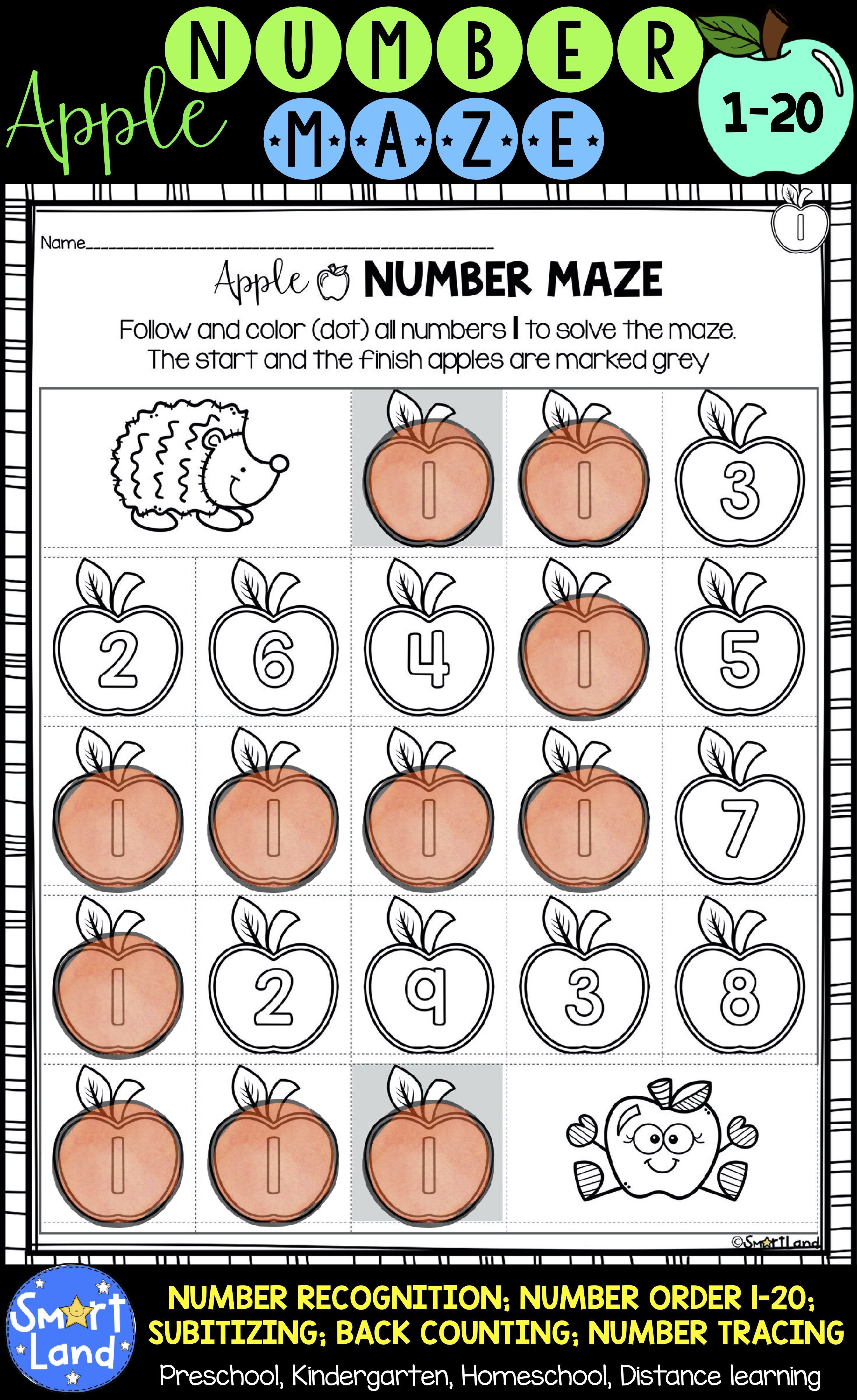 Numbers 1 20 Practice Apple Maze Distance Learning Fall Preschool Activities Maze Worksheet Dot Markers