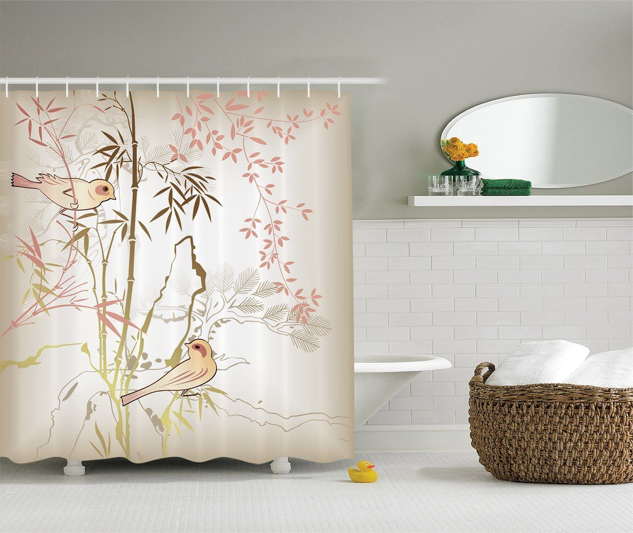 Ambesonne Vintage Bamboo Decor Collection Nature Leaf And Bird Design Illustration Floral Animal Print Polyester Fabric Bathroom Shower Curtain Set